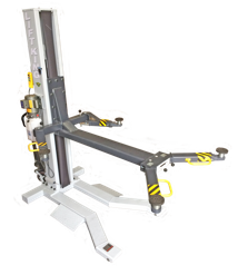 The Lift King 1-Post Portable Service Hoist needs only 1/3rd the space of a 2-Post hoit and is easily moved around your workspace...